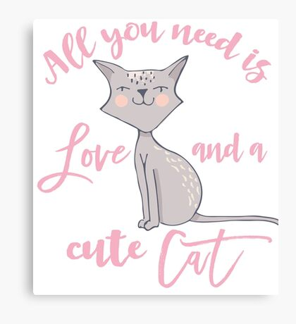 cute Cat love typography  Canvas Print