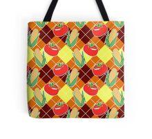 Corn and Tomato Argyle Pattern Tote Bag