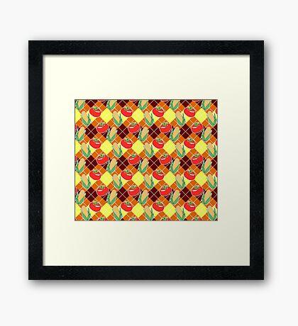 Corn and Tomato Argyle Pattern Framed Print