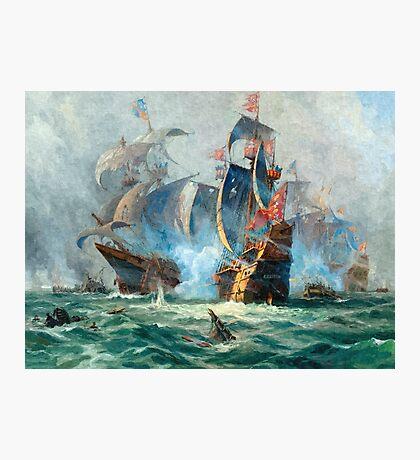 The marine battle scene Photographic Print