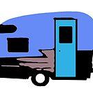 Vintage Camper Trailer Blue by Edward Fielding