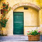 Italian facade with geraniums by Silvia Ganora