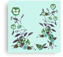 Pansies in Green and Indigo on Sky Blue Canvas Print
