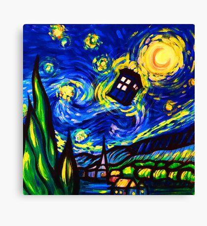 tardis starry night work art  Canvas Print