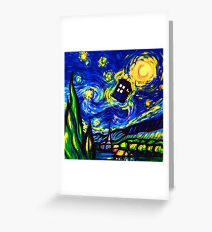 tardis starry night work art  Greeting Card