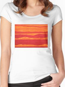 Stacked Landscapes original painting Women's Fitted Scoop T-Shirt
