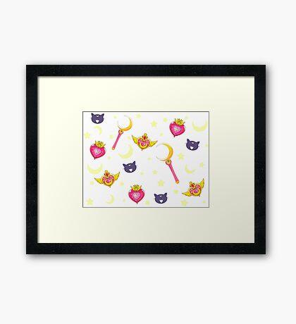 Sailormoon Pattern - PINK Framed Print