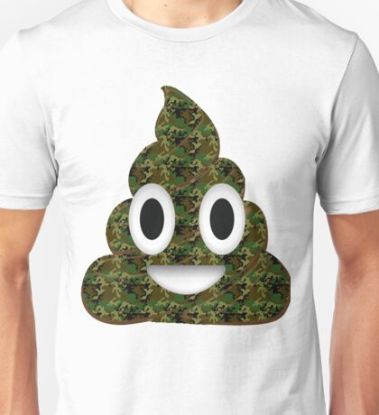 Funny Emoji Poo Poop Military Hunter Hunting Camouflage Camo Army Soldier Veteran Emoticon Unisex T-Shirt