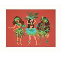 Luau Girls on Coral Art Print