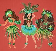 Luau Girls on Coral by Cat Coquillette