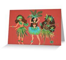 Luau Girls on Coral Greeting Card