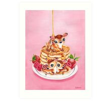 Three Pancake Deer Art Print