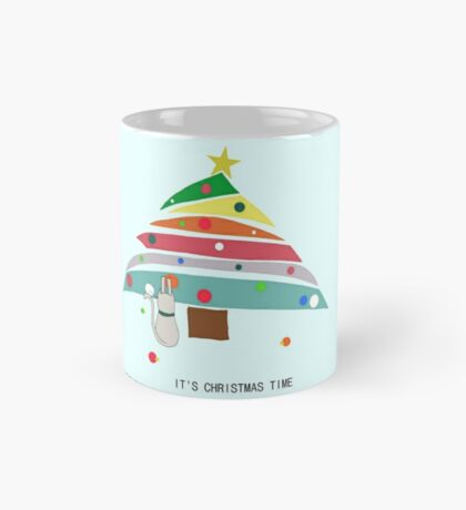 christmas time cat christmas tree decorating female t shirt gift  Mug