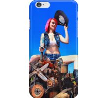 Samantha Ann taming a wild engine (color) iPhone Case/Skin