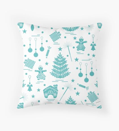 Winter seamless pattern with variety Christmas elements:  tree, balls, petard, sparkler, gingerbread man, gingerbread house, bell, gifts, stars.  Throw Pillow