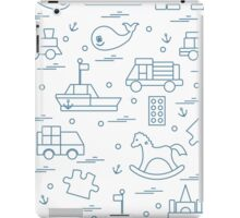 Vector illustration kids toys objects: train, puzzle, designer, boat, car, whale and other. iPad Case/Skin