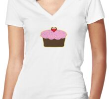 cute pink cupcake Women's Fitted V-Neck T-Shirt