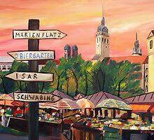 Munich Bavaria Viktualienmarkt with Signposts by artshop77