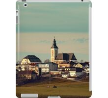 Small village skyline with mint sky | landscape photography iPad Case/Skin