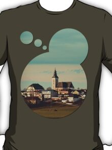Small village skyline with mint sky | landscape photography T-Shirt
