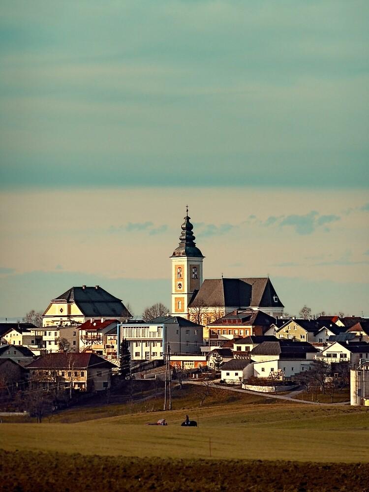 Small village skyline with mint sky | landscape photography by Patrick Jobst