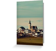 Small village skyline with mint sky | landscape photography Greeting Card