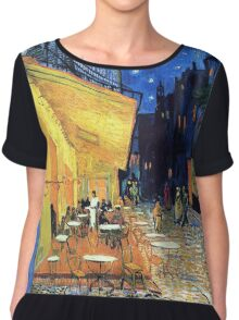 Vincent van Gogh - The Cafe Terrace on the Place de Forum in Arles at Nigh Chiffon Top
