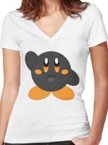 Carbon Kirby - Orange Eyes Women's Fitted V-Neck T-Shirt