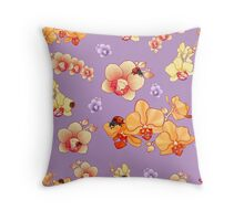 Orchids & Ladybugs Throw Pillow