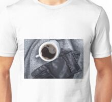 Top view of a white cup with coffee and gray woolen scarf  Unisex T-Shirt