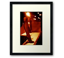Legs of fashion store mannequin shop clothes dummy black and white 35mm film silver gelatin analog photo  Framed Print