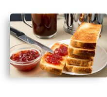 Plate with fried slices of bread for breakfast Canvas Print