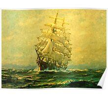 Sailing ship crosses the Atlantic Poster