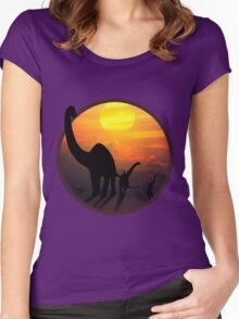 Sauropod Dinosaurs at Sunset Women's Fitted Scoop T-Shirt