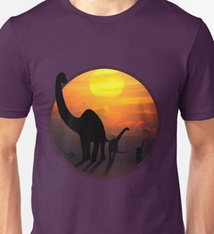 Sauropod Dinosaurs at Sunset Unisex T-Shirt