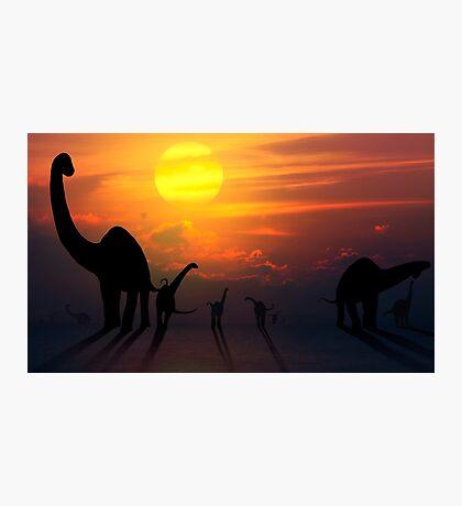 Sauropod Dinosaurs at Sunset Photographic Print