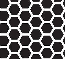 Black and white honeycomb background by IraMukti