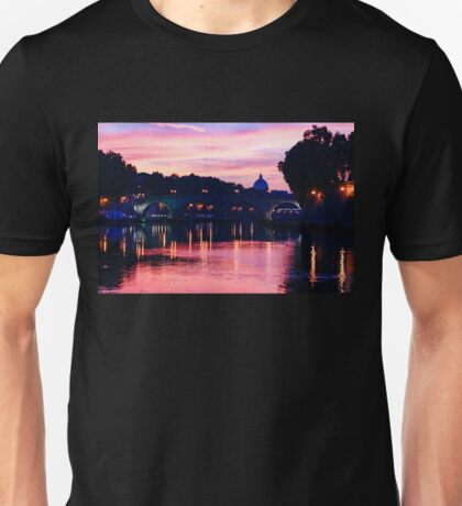 Impressions of Rome - Tiber River Silky Current in Pink and Purple Unisex T-Shirt