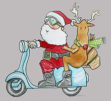 Santa and Rudolph on a Scooter by AndyLanhamArt