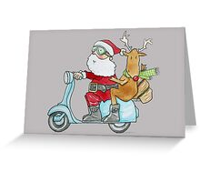 Santa and Rudolph on a Scooter Greeting Card