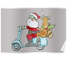 Santa and Rudolph on a Scooter Poster