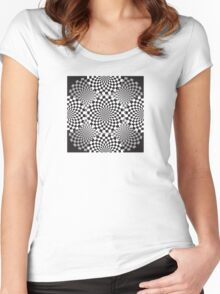 Black and white geometrical background Women's Fitted Scoop T-Shirt