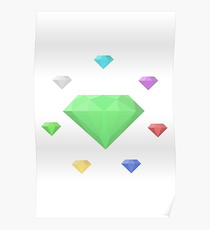 Chaos Emeralds (white) Poster