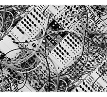 analog synthesizer  - diagonal black and white illustration Photographic Print