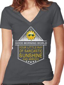 Good Morning World! Women's Fitted V-Neck T-Shirt