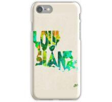 Louisiana Typographic Watercolor Map iPhone Case/Skin