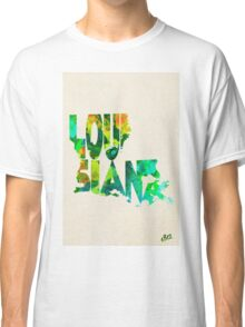 Louisiana Typographic Watercolor Map Classic T-Shirt