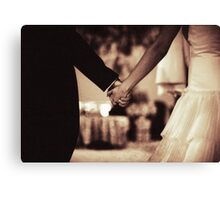 Bride and groom holding hands black and white film silver gelatin sepia fine art analog wedding photo Canvas Print