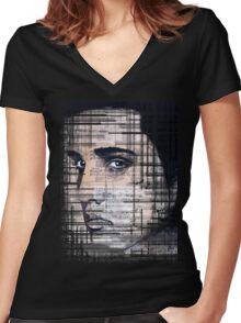 Elvis Presley original  ink painting Women's Fitted V-Neck T-Shirt