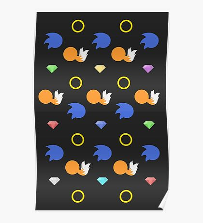Sonic and Tails chaos emeralds (black) Poster